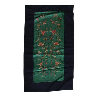 Vintage Asian Embroidered Silk Jade Textile For Sale