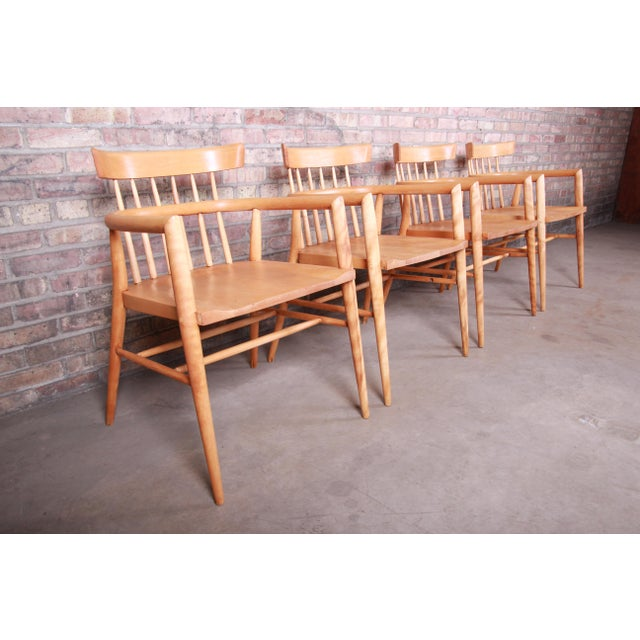 1950s Paul McCobb Planner Group Solid Maple Spindle Back Armchairs - Set of 4 For Sale - Image 5 of 13