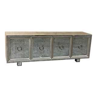 Luxe Four-Door Credenza Console Sideboard Antique Mirror For Sale