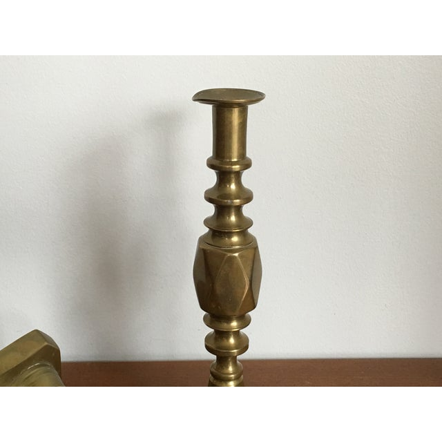 Antique Diamond Prince Brass Candlesticks - A Pair - Image 8 of 10