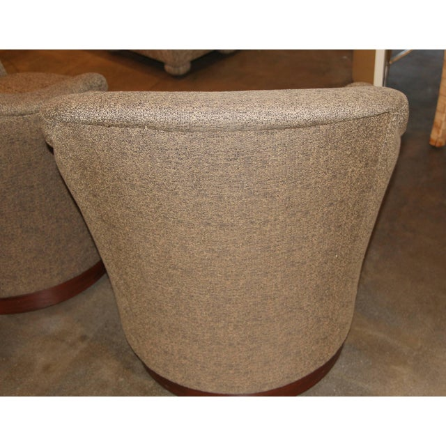 Textile J. Robert Scott Swivel Chairs- A Pair For Sale - Image 7 of 9