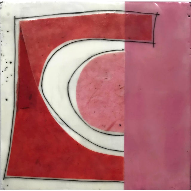 """Gina Cochran """"Perceptions No. 15"""" Encaustic Collage Painting For Sale"""