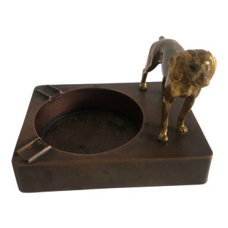 1940s Ashtray With Brass Dog For Sale