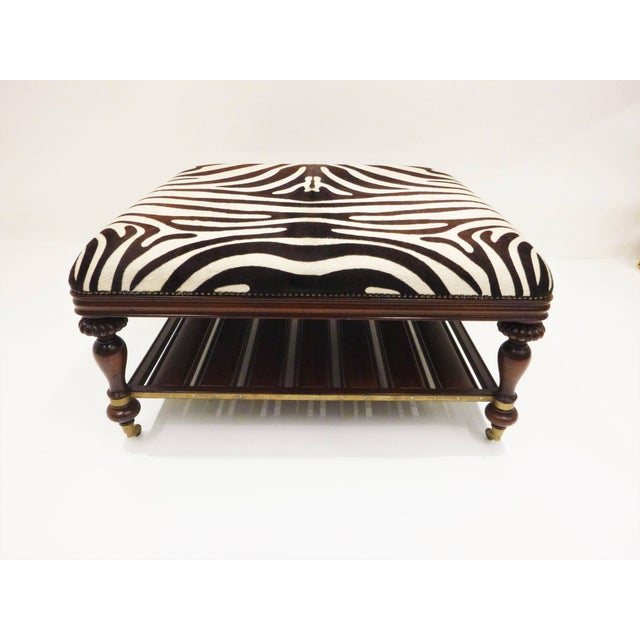 White Vintage Zebra Hide Ottoman, Coffee or Cocktail Table For Sale - Image 8 of 8