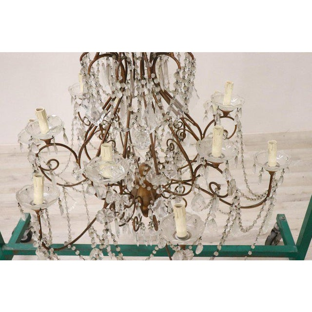 Gold 20th Century Louis XVI Style Gilded Bronze and Crystals Large Luxury Chandelier For Sale - Image 8 of 11