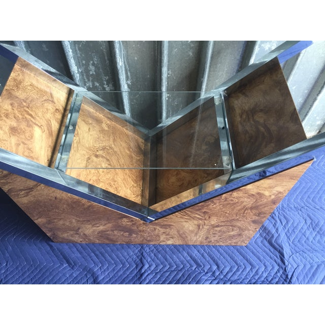 Mid-Century Olive Burl Wood Shelving Unit - Image 6 of 8