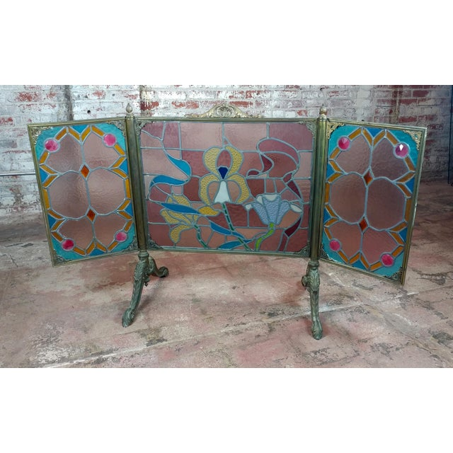 Gorgeous Art Nouveau Bronze & Stained Glass Fireplace screen For Sale - Image 12 of 12
