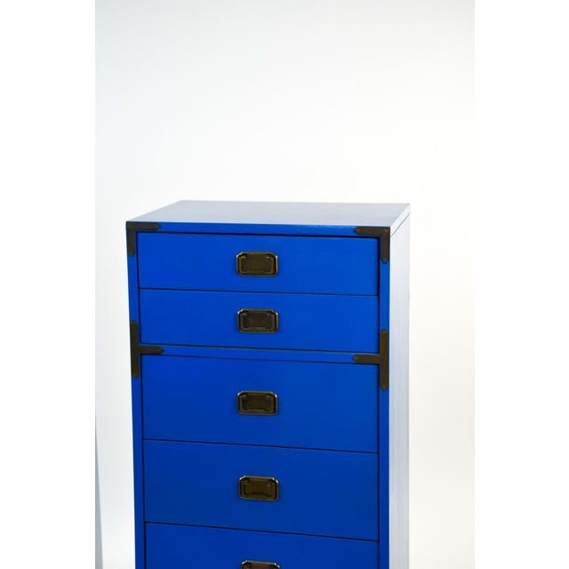 Hollywood Regency Mid Century Campaign Style Blue Tall Chests of Drawers-a Pair For Sale - Image 3 of 13
