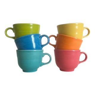 Vintage Fiesta Ware Homer Laughlin Multicolor Teacup Mugs - Set of 6