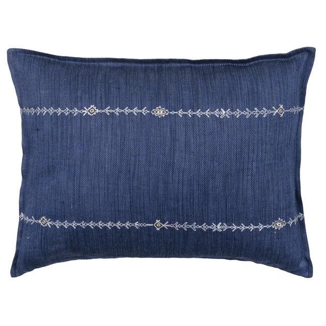 Stitch Stripe Indigo Pillow For Sale - Image 4 of 4