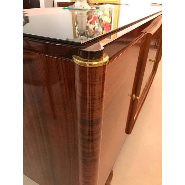 French Art Deco Palisander Buffet with Black Glass Top - Image 6 of 9