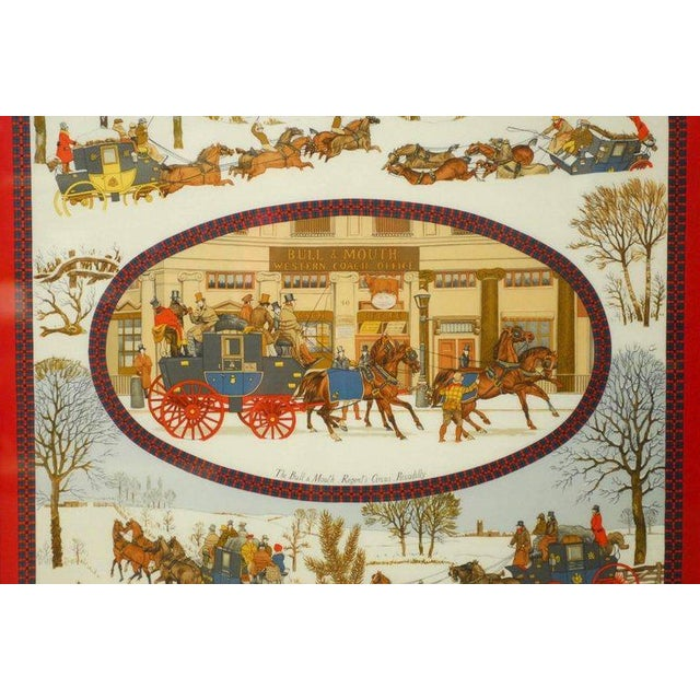 "Rare framed Hermes Scarf ""The Bull and Mouth Regent's Circus Piccadilly"", signed on lower right ""Ledoux"". Features idyllic..."