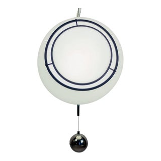Italian Pendant Attributed to Gae Aulenti for Guzzini in White with Chrome Weight, 1970s