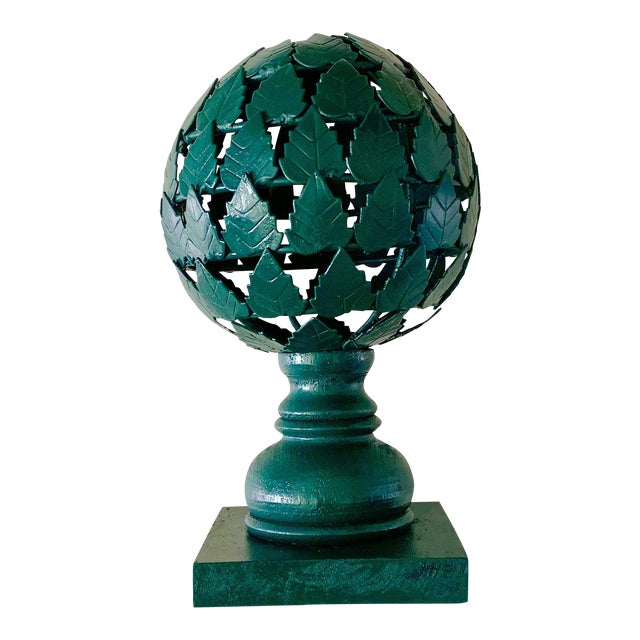 Forest Green Metal and Wood Topiary For Sale