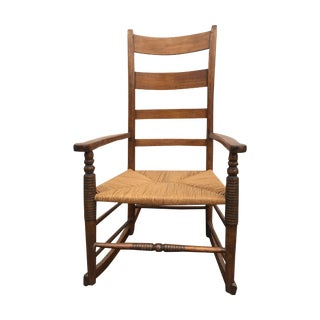 Antique Maple Rush Rocking Chair For Sale
