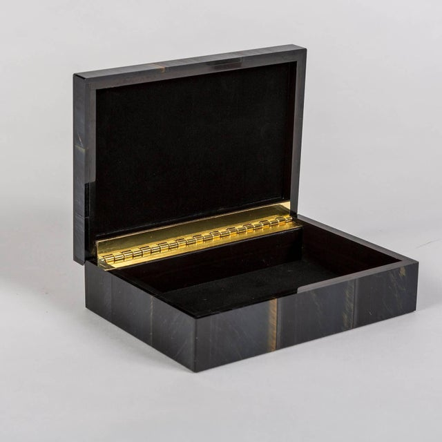 Early 21st Century Falcon's Eye Semi Precious Stone Box with Hinged Lid For Sale - Image 5 of 6