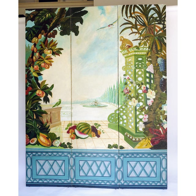 1980s Vintage 1980s Maitland Smith 3 Panel Screen For Sale - Image 5 of 5