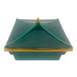 Emerald & Gold Pagoda Ceramic Lidded Dish For Sale