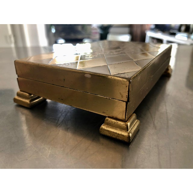 Mid-Century Modern 1960s Mid-Century Modern Glam Diamond Design Gold Metal Footed Cigarette Case For Sale - Image 3 of 9