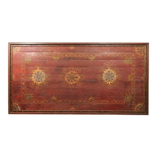 19th Century Painted Wood South Indian Decorative Ceiling Panel For Sale