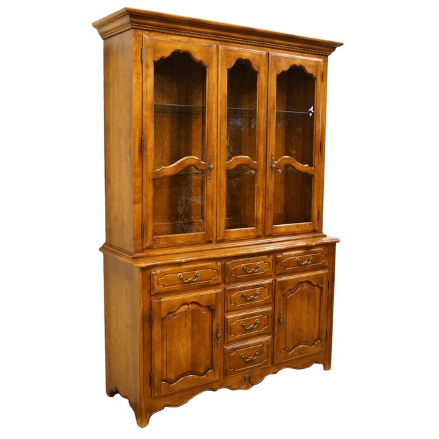 """Ethan Allen country french collection 55"""" buffet with lighted china cabinet. We specialize in high end used furniture that..."""