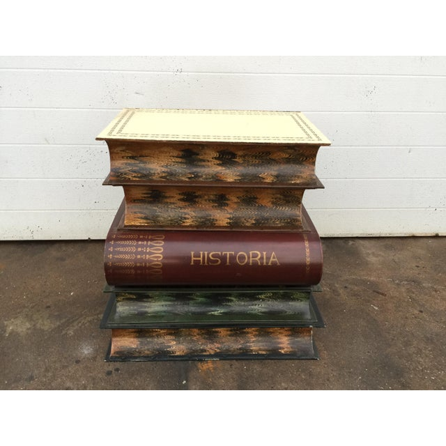 Metal Italian Metal Tole Painted Book Stack Table For Sale - Image 7 of 9