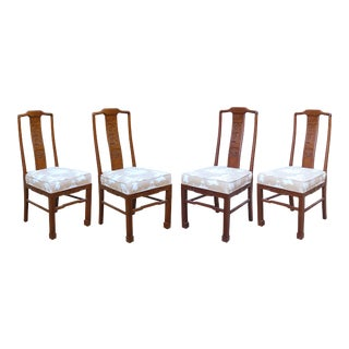 Vintage Chinoiserie or Ming Style Dining Chairs in Reverse Toile - Set of 4 For Sale