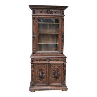 Antique French Bookcase Hunt China Cabinet For Sale