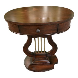 Lyre Pedestal Table With Inset Marble Top For Sale