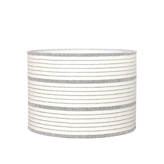 Cusco Stripe Natural and Black Drum Lamp Shade For Sale