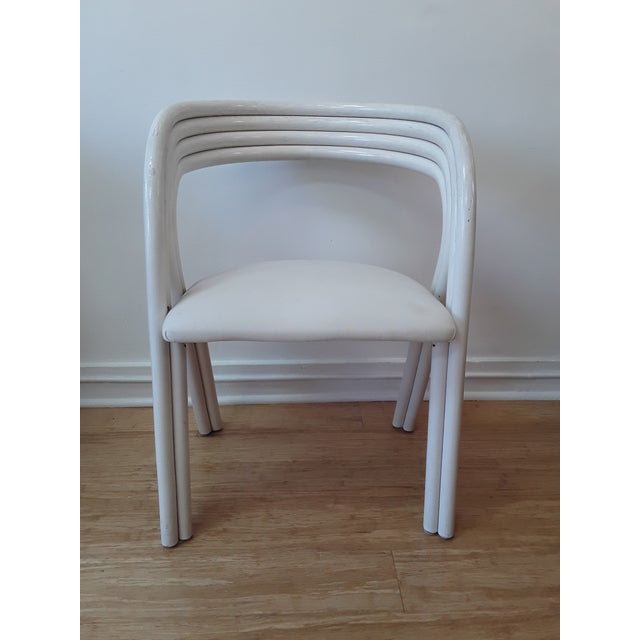 Rohe Noordwolde White Painted Dutch Bentwood Armchairs by Jan Des Bouvrie for Rohé Noor - Set of 4 For Sale - Image 4 of 10