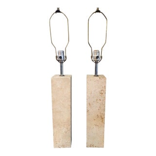 Mid Century Modern George Kovacs Travertine Lamps - a Pair For Sale