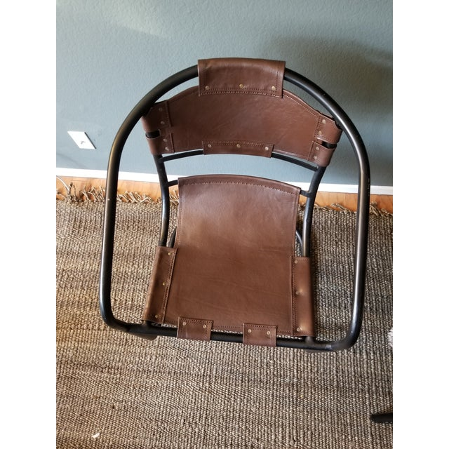 Tobacco Leather Round Lounger Chair - Image 4 of 9