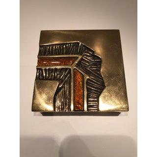 Studio Del Campo, Brutalist Design Italian Mid-Century Modernist Bronze and Enamel Box Preview