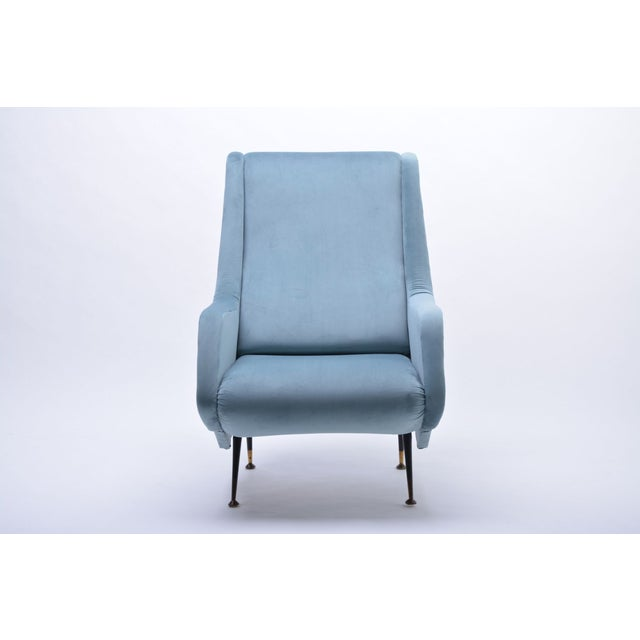 Brass Italian Blue Armchair from ISA Bergamo, 1950s For Sale - Image 7 of 10