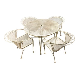 1950s Mid-Century Modern Wrought Iron Patio Table and Chairs - Set of 5