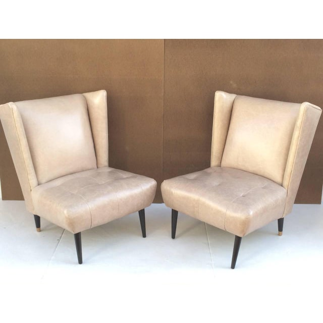 1950s Leather Club Chairs - A Pair For Sale - Image 4 of 10