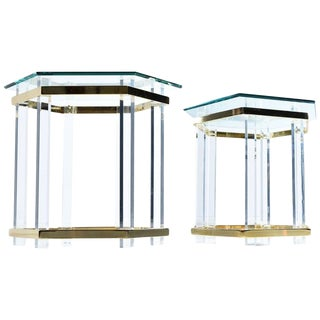Vintage 1970s Hollywood Regency Acrylic Lucite Glass and Brass End Tables For Sale