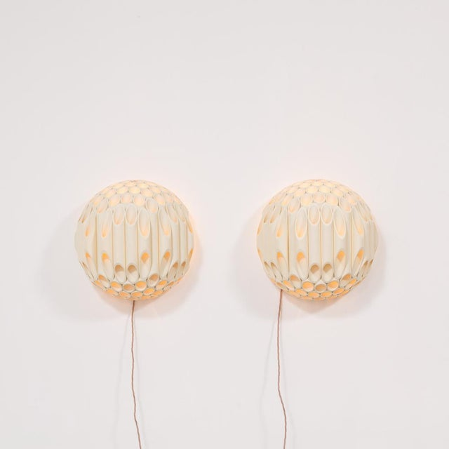 Mid-Century Modern An Exceptional Pair of Spherical Wall Sconce by Rougier Canada 1970s For Sale - Image 3 of 8