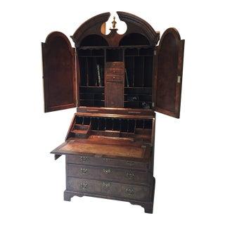 Queen Anne Burl Walnut Bonnet Top Bureau For Sale