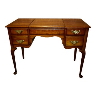 Vintage Solid Cherry Queen Anne Style Flip Top Vanity Desk For Sale