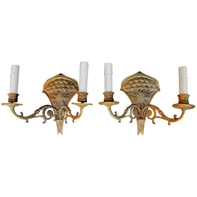French French 19th Century Bronze Sconces - a Pair For Sale - Image 3 of 3