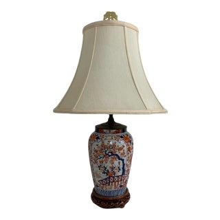 Early 20th Century Imari Lamp With Shade For Sale