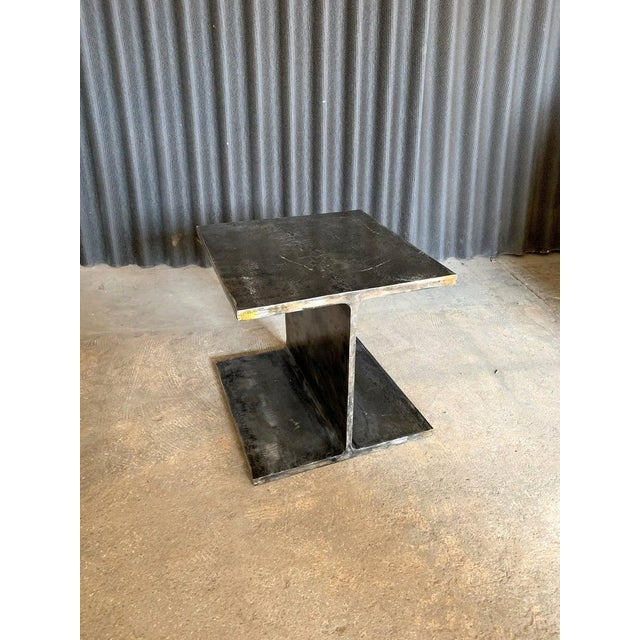 1970s Ward Bennett Steel I Beam Occasional Table For Sale - Image 6 of 9