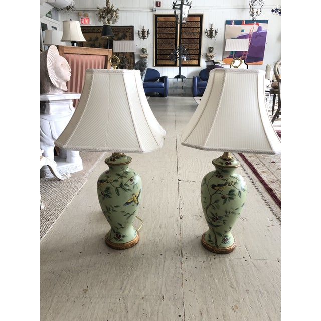 Bradburn Celadon Green Table Lamps With Birds and Foliage - a Pair For Sale - Image 13 of 13