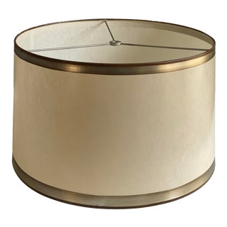 Parchment Drum Shade With Hand Applied Silver Metal Leaf Detail For Sale