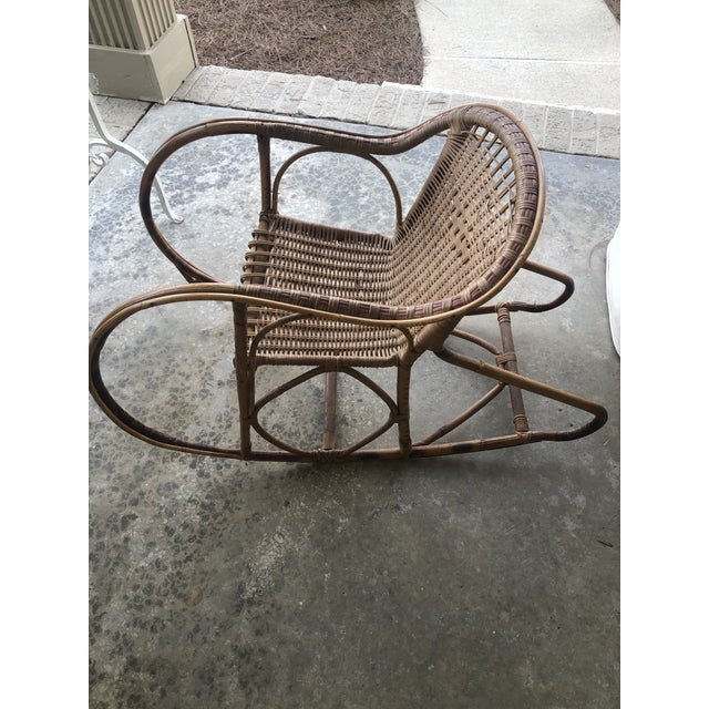 Antique Italian Bamboo/Wicker Child Rocking Chair For Sale - Image 9 of 9