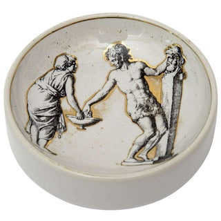 Italian Signed Fornasetti Porcelain/Gold Period Round Bowl/Dish For Sale