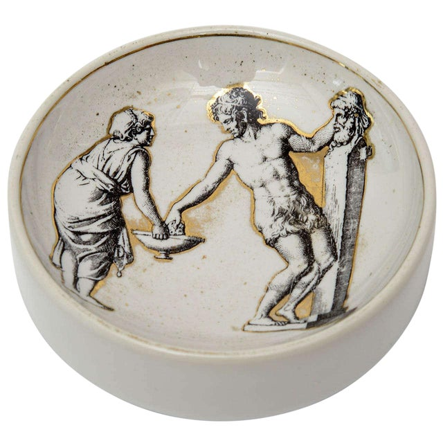 Italian Signed Fornasetti Porcelain/Gold Period Round Bowl/Dish - Image 1 of 11