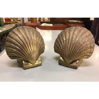 1980s Boho Chic Brass Seashell Bookends - a Pair Preview